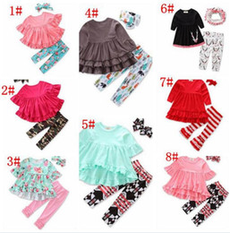 BaBy three dress online shopping - Baby Clothes Girls Flower Tops Pants Ins Fashion T Shirts Leggings Ruffle Shirts Dress Headband Shorts Outfits Kids Clothes A08