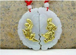 Jade Pendant Authentic Australia - Natural jade authentic jade men and women models dragon and phoenix Chengxiang gold inlaid jade dragon phoenix pendant