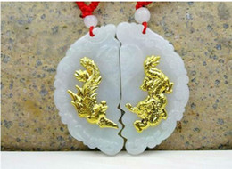 $enCountryForm.capitalKeyWord NZ - Natural jade authentic jade men and women models dragon and phoenix Chengxiang gold inlaid jade dragon phoenix pendant