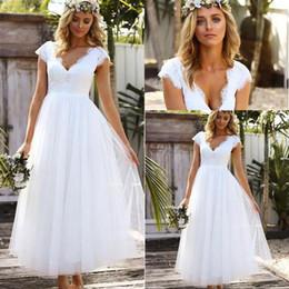 $enCountryForm.capitalKeyWord Canada - Vintage Tea-length 1950s' Wedding Dresses 2018 Lace Tulle Modest Cap Sleeve V-neck Bohemian Beach Garden Bridal Wedding Gowns