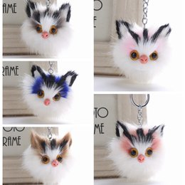 keychain cat black NZ - Cute Cat Hair Ball Keychains Colorful New Pattern Keyrings Women Fashion Gift Car Bag Keychain Popular Jewelry Wholesale