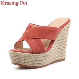 $enCountryForm.capitalKeyWord Australia - 2018 fashion peep toe platform high heels wedge women sandals lazy solid vacation sweet casual thick bottom handmade shoes L12