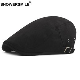 SHOWERSMILE Mens Black Beret Cotton Classic Adjustable Ivy Flat Cap Women  Gatsby Style Casual Vintage Duckbill Hat New Fashion 43623d050197