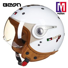 helmet air NZ - 2018 BEON B-110A bright white nano air helmet casco motorcycle vintage open face for harley motorcycle and scooter