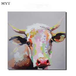 $enCountryForm.capitalKeyWord Australia - Hand paintings canvas oil painting cute cow animal modern art canvas oil painting kid room wall decor modern art paintings for living room