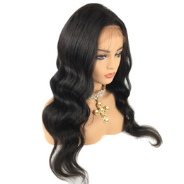 front lace wigs malaysian deep wave UK - Deep Part Lace Front Wig Human Hair Wig Natural Wave 150% Density Malaysian Virgin Hair Pre Plucked Hairline Full Lace Wig Bleached Knots