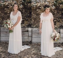 Chinese  2020 Ivory Bohemian Wedding Dresses Plus Size Maternity Lace Short Sleeves Cheap Scoop Open Back Country Spring Wedding Bridal Beach Gowns manufacturers