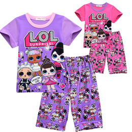 Wholesale 2 Colors Hot Sale Girls Clothing Children Summer Girls Clothes Cartoon Kids Clothing Tshirt Pants Cotton baby Clothing Sets For Girls