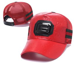 Luxury Golf UK - New Luxury PU Leather Ball Hat Mesh Back Sun Visors Caps Adjustable Golf Cap Classic Red Green Baseball Cap Top Quality Curved Brim Hats