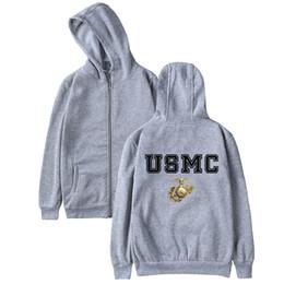 Vente en gros USMC Hoodie Zipper Casual Hiver Hommes Femmes Pull United States Marine Corps Logo Imprimer US MC Sweat À Capuche Avec Chapeau