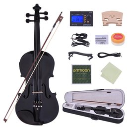 violin pegs UK - wholesale Full Size 4 4 Acoustic Electric Violin Fiddle Solid Wood Body Ebony Fingerboard Pegs Chin Rest Tailpiece