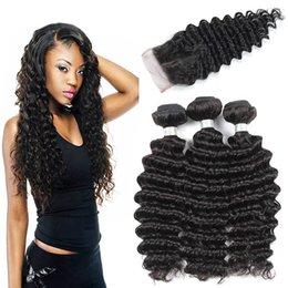 Wholesale Brazilian Deep Wave Hair Australia - Brazilian Deep Wave Bundles With Closure Hair Wholesale Vendors Brazilian Human Hair Weave 3 Wefts With 4x4 Lace Closure Natural Color