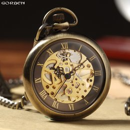 Discount watches for sales - New Hot Sale Retro Bronze Roman Numbers Mechanical Pocket Watch for Men Women with FOB Chain Skeleton Hand-winding Pocke