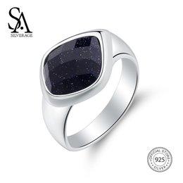 $enCountryForm.capitalKeyWord Canada - SA SILVERAGE 925 Sterling Silver Wedding Rings for Women Fine Jewelry Adjustable Black Gemstone Women Silver 925 Ring setsY1882903