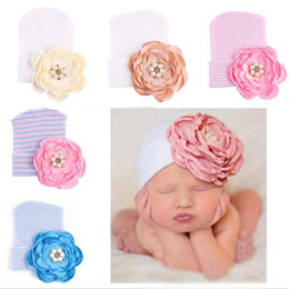 $enCountryForm.capitalKeyWord NZ - 2018 Ins Baby girl Beanies Newborn hat Camellia Flower Beads Baby knit hats Spring Autumn Winter Cheap Wholesale 0-3months