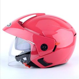 $enCountryForm.capitalKeyWord NZ - pink color 2018 New Double lens Half Face Motorcycle helmet MINI Motorbike helmets made of ABS and PC Visor lens 6 colors