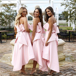f8f1c4e81b Pink Strapless High Low Bridesmaid Dresses Cute Satin Maid Of Honor Big Bow  Pockets White Wedding Guest Dresses