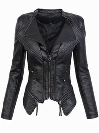 Wholesale faux leather resale online - Leather Jackets Jacket Women Winter Autumn Fashion Motorcycle Jacket Black faux leather coats Outerwear Coat HOT