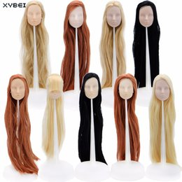"""Discount practice hair head - High Quality Plastic Soft Doll Heads Mixed Style DIY Practice Makeup Face Colourful Long Hair Accessories For 12"""" 1"""