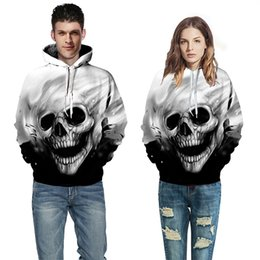 skull hoodies wholesale 2018 - Wholesale- Baseball Shirt Skeleton Hooded Long Sleeve 3D Digital Sweatshirts Hoodie cheap skull hoodies wholesale
