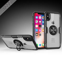 Armure Transparent Etui en verre Titulaire de la bague magnétique Kick Stand Couverture arrière pour iPhone XS MAX XR X 8 Plus Samsung S9 Hawei OPPO OPP