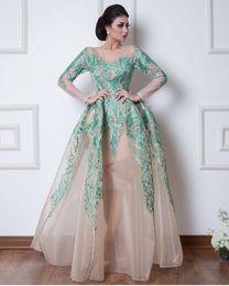 Floor art carpet online shopping - Vintage Arabic Dubai Evening Dresses Formal Ball Gowns Sheer Long Sleeves Hunter Green Appliques Pageant Celebrity Gowns Prom Dress