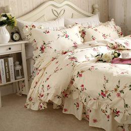 Discount princess print bedding set - European pastoral bedding set ruffle plum flower print duvet cover elegant bedspread bed sheet princess bedding sets