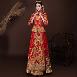 $enCountryForm.capitalKeyWord Australia - Ancient marriage costume the bride clothing gown traditional Chinese wedding dress women cheongsam embroidery phoenix red Qipao