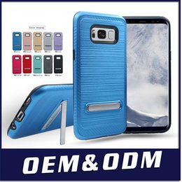 alcatel cell phone wholesales 2019 - For Alcatel QS5509A Colorful Brushed Metal Polish Armor Cell Phone Case Hybrid Case Kickstand Cover A