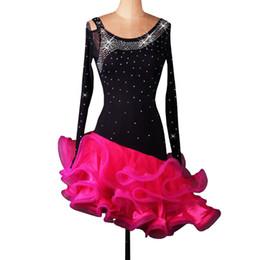 Latin Dance Costumes Woman Canada - Latin Dance Dress Women Girls Latin Salsa Dance Competition Dresses Samba Costumes D0080 Rhinestones 2 Colors Fluffy Hem Long Sleeve