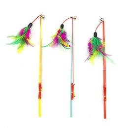 Rod toys online shopping - Fishing Rod Cat Toys Colourful Feathers Telescopic Rope Tease Kitten Stick With Bells Durable Steel Bar Pet Interaction Plaything zk Y