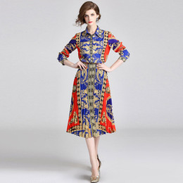 China Fashion New Panelled Colour Printing Two Piece Dress,Lady Elegant Autumn Dresses Set,Lapel Neck,Pleated Skirt,Long sleeve supplier floral print casual long skirt suppliers