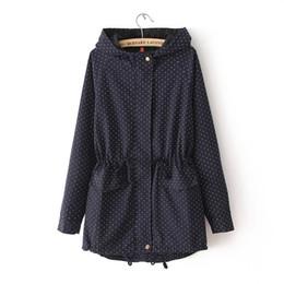 navy hooded women s coat 2019 - Plus Size Cargo Drawstring High Waist Slim Dot Navy Green Long Jacket Korean Student 90`s Girl Simple Vintage Hooded Tre