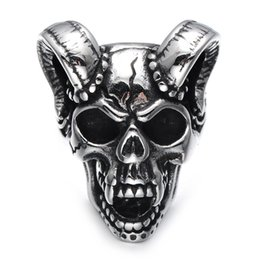 $enCountryForm.capitalKeyWord Australia - Lujoyce Punk Gothic Casting Evil Damn Vampire Goat Head Bone Ring Titanium Stainless Steel Skull Ring for Men Jewelry
