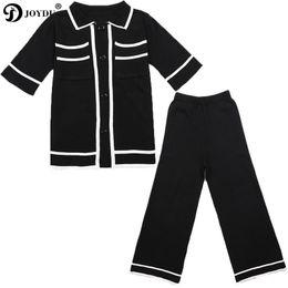 bac545b96e36d JOYDU Runway Conjunto de 2 piezas Chándal Traje para mujer 2018 Nuevo  Bloque de color Negro Punto de manga corta Top Blusa Pantalones de pierna  ancha traje