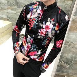 d86e27ed36e Vogel Pflanze Print Shirt Langarm Herren Chemise Mode Business Design Fit  Kleid Shirts Social Casual Camisa Fancy Prom Shirt