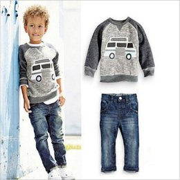 boy winter cars 2019 - Baby Boy Clothing Sets Kids Car Printed T-Shirt & Pants 2 Pieces Set Children Designer Autumn Clothes Suits Toddler Wint