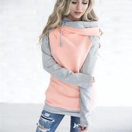 Wholesale oblique zipper hoodie online – oversize Women Long Sleeve Quilted Hoodie Oblique Zipper Double Hooded Sweatshirt with Pocket Drawstring Sweatshirt Women Casual Autumn Tops