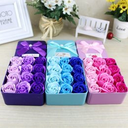 nice romantic flower Canada - 24Pcs Rose Soap Flower Nice Romantic Love Style with Iron Box Home Festival Gift Valentine's Day Flower