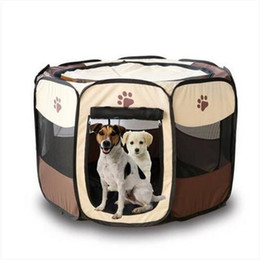 Venta al por mayor Pet Jaula plegable 600D Portable Oxford Dog Playpen Pet Valla Kennel Puppy Kitten Sleeping House Ejercicio al aire libre Pet Tent
