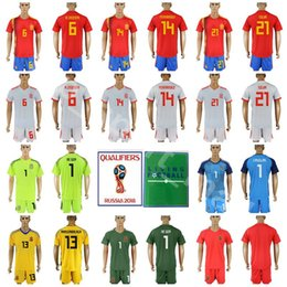 fca2552df Spain 2018 World Cup 6 Andres Iniesta Jersey Set Men Soccer 14 Xabi Alonso  21 David Silva Football Shirt Kits Custom Name Number Red Home