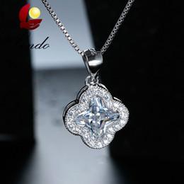 Модные высокое качество блестящий Кристалл кулон стерлингового серебра 925 ожерелье лучший подарок для женщин с подарочной коробке
