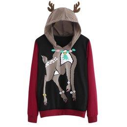 Deer Blocks NZ - Cute Elk Deer Hoodies Women Long Sleeve Casual Sweatshirt Lady Autumn Hooded Color Block Patchwork Pullover #JN