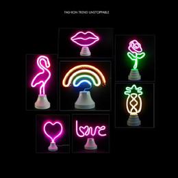 $enCountryForm.capitalKeyWord Australia - Flamingo Light LED Neon Lights Cactus Pineapple Big Mouth Birds Rainbow Table Desk Lamps Modeling Decoration Light Wholesale Dropship
