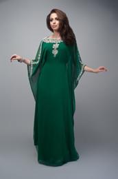 $enCountryForm.capitalKeyWord NZ - 2018 Muslim Emerald Green Appliques Beaded O-Neck Muslim Arabic Kaftan Dubai Fancy Islamic Clothing For Women Evening Dress