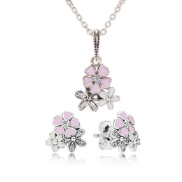 EnamEl pEndant Earrings online shopping - Authentic Sterling Silver Pink Enamel flower Pendant Necklace Earring Set with box for Pandora Jewelry Womens Earrings