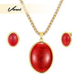 $enCountryForm.capitalKeyWord UK - Vivari Vintage Elegant 2 Types Jewelry Set Gold Color Necklace Display Earrings For Women Egg Shape Semi-Precious Stones