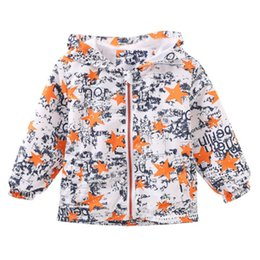 Graffiti Coating NZ - 2017 Autumn Baby Boys Jackets Coats Cartoon Graffiti Hooded Windbreaker For Toddler Girls Boys Kids Jacket Outerwear 3 Colors