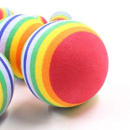 rainbow balls toys 2019 - Pet Rainbow Ball Foam Fetch Balls Training Interactive Dog Funny Bite Toys 6.3cm