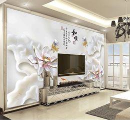 $enCountryForm.capitalKeyWord Australia - Customized Retail And Shun Lotus Seed Lotus Leaf Lotus Flower Delicate Squid Dragon Apex Indoor Wall Decoration Mural